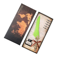Wholesale fountain pens online - Excellent Antique Quill Feather Dip Pen Writing Ink Set Stationery Gift Box with Nib Wedding Gift Quill Pen Fountain Pen