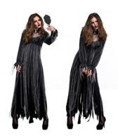 ingrosso halloween costume di zombie-Donne Zombie Sposa Costume Halloween Vendita calda Halloween Scaring Performance Abiti manica lunga abiti da festa e set di collana