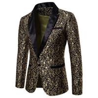 vestido de poliéster viscosa al por mayor-Slim Fit Blazer Men 2018 Nueva llegada para hombre Floral Blazers Floral vestido de fiesta Blazers Blazer elegante de la boda y traje chaqueta hombres