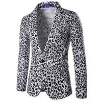 ingrosso vestiti di stampa nero del leopardo-Blazer floreale degli uomini di moda Black White Leopard Print Dress Suit Stage Wear Costume Casual primavera giacca un pulsante slim blazers