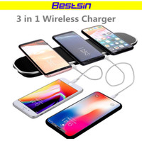 Wholesale 12v usb 3a - Bestsin 12V 3A 36W 3 in 1 Qi Wireless Charger For Iphone 9 Charging Pad with USB charging Port for Samsung S9