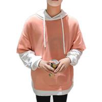 moda de rua coreana para homens venda por atacado-Camisola Coreano Homens Hoodie Rua Harajuku Japonês Dividir Patchwork Camisolas Dos Homens Hoodies Pullovers Moda Vestuário Tendências