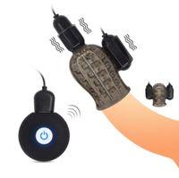 зарядка секс игрушка оптовых-USB Зарядка Пениса Массажер С 2 Колпачками Мужской Мастурбатор 12 Скоростей Задержки Прочного Тренера мужские Glans Вибратор Секс-Игрушки для Человека
