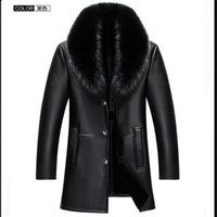 Wholesale Male Leather Wool Clothing - Wholesale- new arrival clothing hihg quality male Fur collar plus veleet fur one piece leather thick outerwear luxury men's size M- 4XL