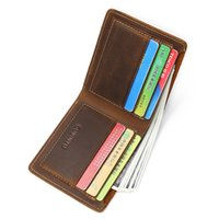 Wholesale wholesale acrylic business card holders - Men Genuine Leather Business Short Wallet Bifold Wallets Coin Purse Card Holder R011