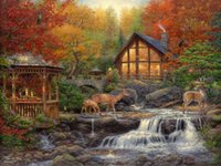 Wholesale High Quality Wall Paintings - Thomas Kinkade Landscape Oil Painting European Paintings Canvas High Quality Reproduction Prints on Canvas Modern Wall Home Art Decor FJ49
