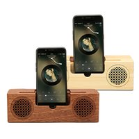 Wholesale wooden wireless speakers - Wooden Bluetooth Speaker Outdoor Portable Subwoofer Wireless Speakers TF Card FM For iPhone Samsung Cell Phone Stand Holder