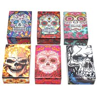Wholesale rectangular plastic box - Newest Colorful Human Skeleton Skull Cigarette Cases 95MM Plastic Storage Box High Quality Exclusive Design Automatic Opening DHL Free