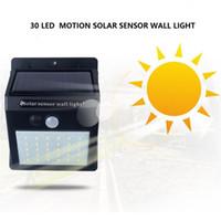 açık led avlu ışıkları toptan satış-Parlak Hareket Sensörü Güneş Işıkları Açık 30 LED Duvar ışık, Kablosuz Driveway Patio Yard Güverte için Kablosuz Su Geçirmez Güvenlik Işık