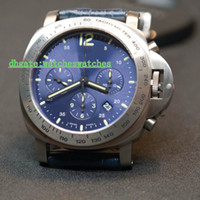Discount titanium watch case - Luxury Pam326 men watch 7753 Chronograph Automatic Movement Titanium Case Anti-reflective Sapphire Crystal Blue calfskin strap