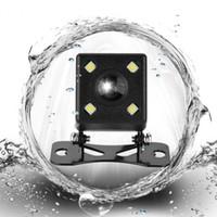 kamera açısı görüntüsü toptan satış-Evrensel Su Geçirmez Dikiz Kamera 170 Derece Geniş Açı Araba Geri Ters LED Işık Gece Görüş