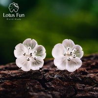 Lotus Fun Real 925 Sterling Silver Natural Crystal Handmade Fine Jewelry  Flower in the Rain Stud Earrings for Women Brincos S18101206 b1f90fbe40c0