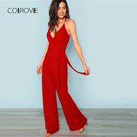 широкие красные галстуки оптовых-COLROVIE Red Sexy Deep V шеи Crisscross Wrap Tie Waist Wide Leg Cami Комбинезон 2018 Новый осенний массивный комбинезон с высокой талией