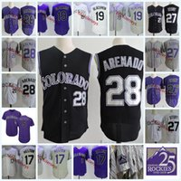 Wholesale green men vest - Mens Nolan Arenado Black Vest Jerseys 5 Carlos Gonzalez 19 Charlie Blackmon 17 Todd Helton 27 Trevor Story Flex base baseball Jersey