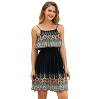 Wholesale crow harness - Woman Dresses Summer New Fashion Bohemia Style Retro Sash Harness Casual Dress Three Colors