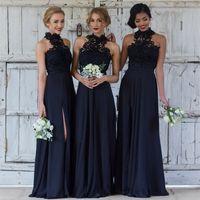 Wholesale Elegant Gold Dresses - 2018 New Elegant Halter Lace Long Bridesmaid Dresses Chiffon Split Floor Length Party Evening Dresses BA7430