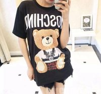 Wholesale Teddy Bears Shirt - European American Popular logo cartoon bear cartoon teddy bear letter printing T-shirt female short-sleeved - size round collar cotton shirt