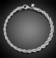 verres de murano achat en gros de-4 mm Argent 925 plaqué Twist Corde Bracelet chaîne pour les femmes Les hommes du Parti Bracelet Charms Bracelets Fit perles de Murano Lunettes