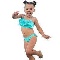 bikini mayo mayo toptan satış-2018 Yeni Yaz Bikini Set Ayarlanabilir 2-7Y Çocuk Kız Mayo Yay-düğüm Düz Renk İki Adet Mayo mayo