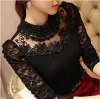 boncuklu bluzlar kadınlar toptan satış-Yeni Kadın Dantel moda casual kız bluz boncuklu dantel gömlek kadın giysileri