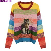 Wholesale Lace Top Sweater - HZLLHX women cute rainbow stripes sweater fall winter top Sweet cat embroidery lace stripes ladies chic pullovers knitted news
