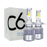 auto lichter glühbirnen großhandel-C6 LED Auto Scheinwerfer 72W 7600LM COB Auto Scheinwerfer Lampen H1 H3 H4 H7 H11 880 9004 9005 9006 9007 Auto Styling Lichter