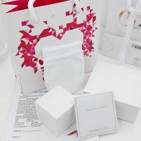 rosa diamantherzhalskette großhandel-Hochwertige rosa Diamanten Herz Schmuckschatullen Verpackung Sets passen Pandora Halskette Armband Ringe Ohrringe Charms Originalverpackung