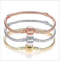 очарование золотой змеи оптовых-17-21 см европейские прелести змея цепи 18 позолоченный браслет Fit Pandora розовое золото браслеты Оптовая Fit для европейских бусины подвески болтается