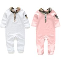 Wholesale Long Stocking Hats - IN stock 2018 Hot sell new Spring fall baby kids climbing romper high quality cotton long sleeve spring autumn romper+hat 2 colors