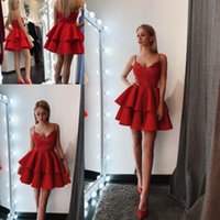 Wholesale short spaghetti strap sequin dress - Little Red Mini Short Cocktail Dresses 2018 New Sexy Backless Spaghetti Straps Sequins Appliques Cute Homecoming Gowns Above Knee Length