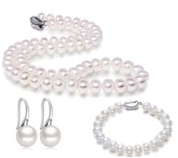 белые серьги из жемчуга оптовых-JYX Narural Pearl Necklace Set 10.0-10.5mm Round White Freshwater Pearl Necklace Bracelet and Earrings Jewelry Set