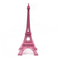 figurines antiques achat en gros de-Saideke Home rose Statue Tour Eiffel Paris Figurine Antique Accessoires Photo ornements