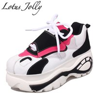 Wholesale Thick Sole Wedge Platforms - Lotus Jolly 2018 Women Harajuku Shoes Thick Soled High Help Woman Platform Muffin Casual Elevator Woman Wedges Zapatos Mujer