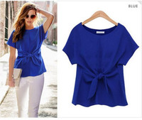 Wholesale bow tie t shirt - 2018 New Summer Women Chiffon shirt Bow tie Crop Top summer work t-shirt short sleeve blouse 3 Colors S-2XL Ladies European Style tshirt