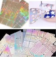 impressão de unhas 3d venda por atacado-12 Folhas de Flor 3D Oco Decalques Adesivos Nail Art Tip DIY Decoração Manicure Design Para As Mulheres Pintado impressão a laser adesivos de unhas