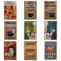Wholesale paris art - Retro Coffee Theme Tin Sign 20*30cm Homemade Apple Pie Tin Poster Beer Paris Cafe Iron Painting Factory Direct Sale ZB