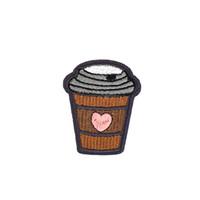 demir kalp yamaları toptan satış-10 ADET Diy Kalp Şekilli Kahve Fincanı Yamalar Kumaşlar Giyim Çocuk Giyim dikmek için Transferi Yama Aplike Yama Nakış Yama Aksesuarları