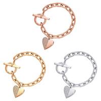 romantisches liebesarmband großhandel-Textur Liebe Armband Romantische Liebe Herzförmige Charme Armbänder Armreifen Schmuck Für Frauen Gold-Farbe Kristall Kette Armband