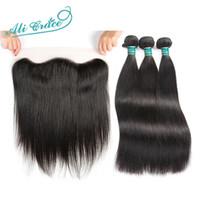 ali cabello humano al por mayor-Ali Grace Hair Cabello liso brasileño con cierre 3 paquetes Remy Human With 13 * 4 parte libre de oreja a oreja de encaje frontal