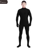 zentai gewohnheit großhandel-Ensnovo Herren Lycra Spandex Anzug Rollkragen Unitard Yoga Dancewear Einteilige Ganzkörper-Custom Second Skin Tight Cosplay Kostüm