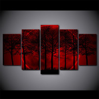 ingrosso pittura cielo rosso-5 Pezzi / set HD Modern Canvas Wall Painting Red Moon Sky Home Decor Picture Poster Stampe opere d'arte