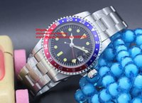 Wholesale Vintage Auto Watch - 3 Color Luxury AAA+ Quality Watch 40mm Vintage GMT 1675 Pepsi Bezel Asia 2813 Movemen Sapphire Glass Mechanical Automatic Mens Watches