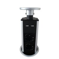 Wholesale socket electronics for sale - Group buy 2018 Pulling Desktop Socket with USB Charger and EU power Electronics pop up socket with cable
