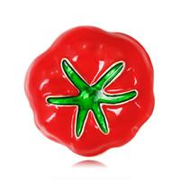 senhora vermelho broche venda por atacado-Broche De Tomate Vermelho Verde Folha Planta Broche Pin Broches Vegetais Corsage Clipes Para Terno Cachecol Vestido Mulheres Senhora Jóias