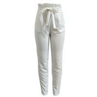 Wholesale Black Belts Elastic Stretch - Women's Waist Belted Stretch Casual Trousers Paper Bag Tie Cigarette Capris Slim Fit Full Length Pants RF0889