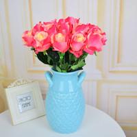 roses en soie fleurs violettes achat en gros de-17pcs fleurs artificielles faux roses de soie pour les maisons table fête de mariage décorations de noël cadeaux bleu rose blanc violet rouge
