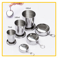 Wholesale Travel Folding Cup Stainless Steel - Wholesale 75ml 140ml 240ml Stainless Steel Portable Outdoor Travel Camping Folding Collapsible Cup Metal Telescopic Keychain