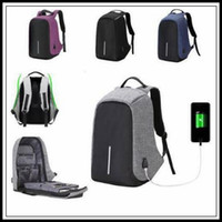Wholesale Wholesale Plain Notebook - 6 Colors External USB Charge Laptop Backpack Anti-theft Notebook Computer Bag Leisure Travel Backpack Casual School Bag CCA8652 20pcs