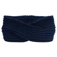 Wholesale Headband Navy - Cross Knitting Woolen Weaving Headband (navy blue)