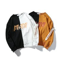 Wholesale Hip Hop Mens Sweaters - Mens Sweater Hip-hop Streetwear Lovers Loose Fashion Brand Crew Neck Patchwork Hoodie
